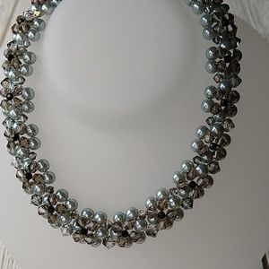 Jet(Blk), Grey- SWAROVSKI Crystal & Pearl NECKLACE